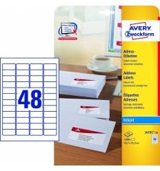 Этикетки адресные белые с фотокачеством Avery Zweckform, 45,7x21,2мм/ 48шт на листе, 25 листов, 1200 этикеток, J4791-25