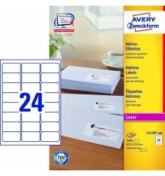 Этикетки адресные белые, 64x33,9мм, Avery Zweckform, 100 листов, 2400 этикеток, L7159-100