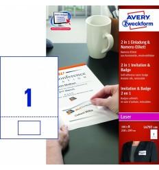 Приглашение + бейдж 2 в 1 Avery Zweckform,  80х50мм, белый, 100 листов