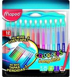 Фломастеры Maped COLOR PEPS LONG LIFE 12 цветов, c заблокированным пишущим узлом
