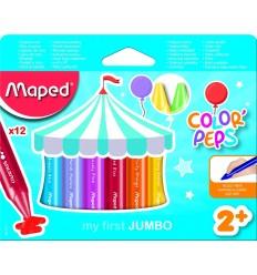 Восковые мелки MAPED Color'peps JAMBO 861311, 12 цветов.