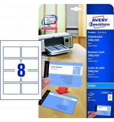 Заготовки для визиток Avery Zweckform, белые матовые двусторонние 260гр., 85х54мм/ 10шт на листе, 10 листов