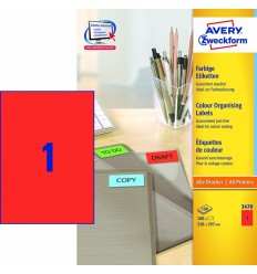 Этикетки универсальные Avery Zweckform 210x297мм, красные, А4, 100листов, 100 этикеток