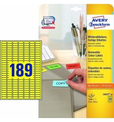 Этикетки удаляемые Avery Zweckform 25,4х10мм/ 189шт, желтые, А4, 20листов, 3780 этикеток, L6037-20