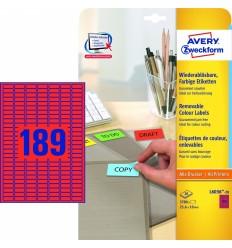 Этикетки удаляемые Avery Zweckform 25,4х10мм/ 189шт, красные, А4, 20листов, 3780 этикеток, L6037-20