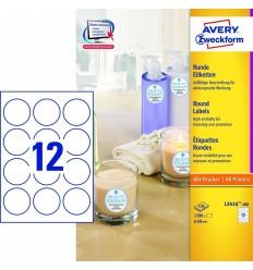 Самоклеящиеся этикетки круглые Avery Zweckform белые А4, d-40мм/ 24шт, 100 листов, 2400 этикеток, L3415-100