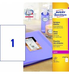 Самоклеящиеся этикетки глянцевые Avery Zweckform белые с фотокачеством А4, 210х297мм/ 1шт, 40 листов, 40 этикеток, L7767-100