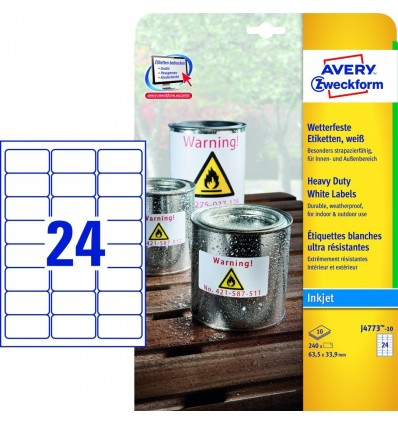 Этикетки погодоустойчивые Avery-Zweckform 63,5х33,9мм/ 24шт, А4, 10 листов, 240 этикеток, J4773-10 для струйных принтеров