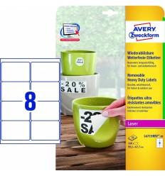 Этикетки всепогодные удаляемые Avery-Zweckform 99,1x67,7мм/ 8шт, 20 листов, 160 этикеток, L4715REV-20