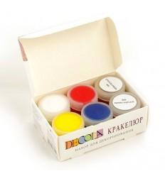 Краски акриловые для декорирования в технике кракелюр DECOLA Невская Палитра, 4 цвета по 20мл и 2 лака по 20мл