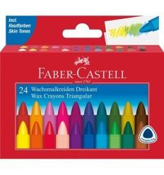Цветные восковые мелки FABER-CASTELL TRIANGULAR, 24 цвета