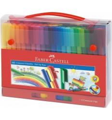 Набор фломастеров с клипом FABER-CASTELL Connector, 60 цветов, 10 клипов в пласт. пенале