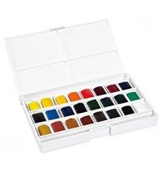 """Набор акварели LEFRANC&BOURGEOIS """"FINE"""" 24 цвета в кюветах в пластиковой коробке"""
