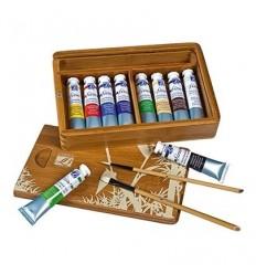 Набор масляных красок Lefranc Bourgeois FINE Discovery, 10 туб по 20мл, 2 кисти в бамбуковой коробке