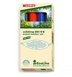 Набор маркеров для досок EDDING E-29 EcoLine 1-5мм скошенный наконечник, 4 цвета