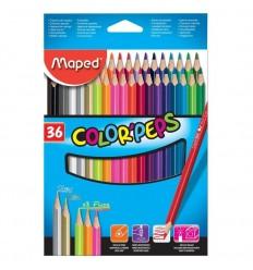 Карандаши цветные треугольные MAPED COLOR'PEPS , 12 цветов из американской липы, в метал. тубусе
