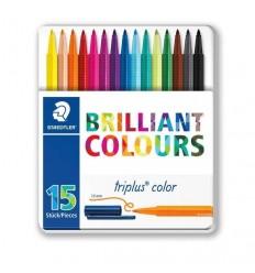 Набор фломастеров STAEDTLER Triplus Color 323, 15 цветов в метал. коробке