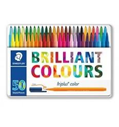 Набор фломастеров STAEDTLER Triplus Color 323, 50 цветов в метал. коробке