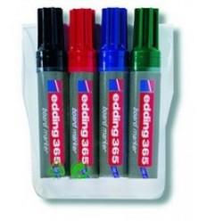 Набор маркеров для досок edding 365, скошенный наконечник, 2-7мм, 4 цвета