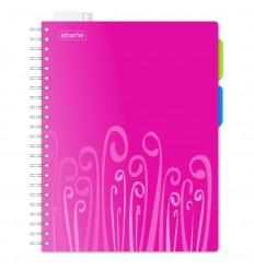 Бизнес-тетрадь клетка Attache Fantasy розовая А4 140 листов, 2 разделителя, спираль