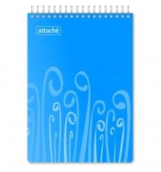 Блокнот клетка Attache Fantasy голубой, А5, 80 листов, спираль сверху