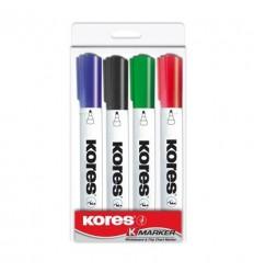 Маркер для досок KORES, круглый наконечник 3мм, 4 цвета