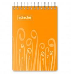 Блокнот клетка Attache FANTASY оранжевый, А6, 80 листов, спираль сверху