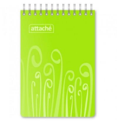 Блокнот клетка Attache FANTASY салатовый, А6, 80 листов, спираль сверху