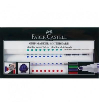 Набор маркеров FABER-CASTELL GRIP для доски, круглый наконечник, 2,5мм, 4 цвета,158304