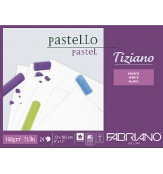 Альбом для пастели Fabriano Tiziano 23x30,5см, 160гр. 24л., белый, Склейка