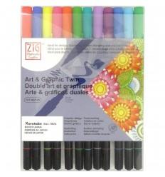 Набор акварельных маркеровZIGArt & Graphic Twin,2 пера (кистьитонкое 0.8мм) Яркие оттенки 12шт