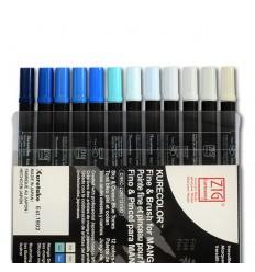 Набор маркеровZIGKurecolour Fine&Brush for Manga Sky&Ocean Blue Tones,2 пера (кистьитонкое) Синие оттенки 12шт