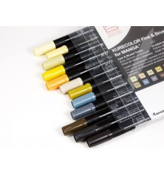 Набор маркеровZIGKurecolour Fine&Brush for Manga Hair and Muted Tones,2 пера (кистьитонкое) Приглушенные оттенки 12шт