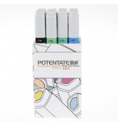 Набор пигментных маркеров Potentate Box Set 12 цветов ((water based)