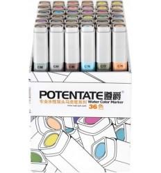 Набор пигментных маркеров Potentate Box Set 36 цветов ((water based)
