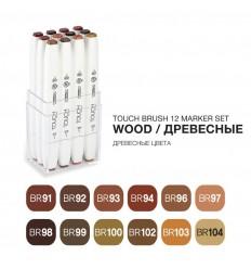 Набор маркеров TOUCH BRUSH, 2 пера (долото и кисть), 12 цветов древесные тона
