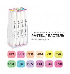 Набор маркеров TOUCH BRUSH, 2 пера (долото и кисть), 12 цветов пастельные тона