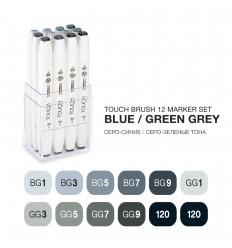 Набор маркеров TOUCH BRUSH, 2 пера (долото и кисть), 12 цветов Сине-зеленые тона