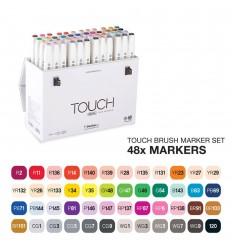 Набор маркеров TOUCH BRUSH, 2 пера (долото и кисть), 48 цветов основные тона