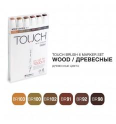 Набор маркеров TOUCH BRUSH, 2 пера (долото и кисть), 6 цветов древесные тона