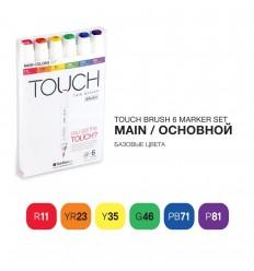 Набор маркеров TOUCH BRUSH, 2 пера (долото и кисть), 6 цветов основные тона