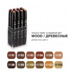 Набор маркеров TOUCH TWIN, 2 пера (долото и тонкое), 12 цветов древесные тона