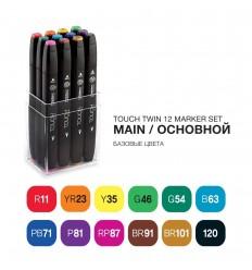 Набор маркеров TOUCH TWIN, 2 пера (долото и тонкое), 12 цветов основные тона