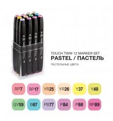 Набор маркеров TOUCH TWIN, 2 пера (долото и тонкое), 12 цветов пастельные тона