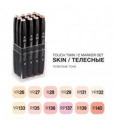 Набор маркеров TOUCH TWIN, 2 пера (долото и тонкое), 12 цветов телесные тона