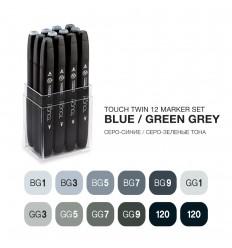 Набор маркеров TOUCH TWIN, 2 пера (долото и тонкое), 12 цветов Сине-зеленые тона