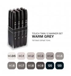 Набор маркеров TOUCH TWIN, 2 пера (долото и тонкое), 12 цветов Теплые серые тона