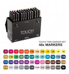 Набор маркеров TOUCH TWIN, 2 пера (долото и тонкое), 48 цветов Основные тона