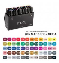 Набор маркеров TOUCH TWIN, 2 пера (долото и тонкое), 60 цветов Основные тона А