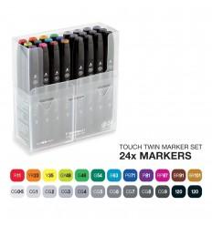 Набор маркеров TOUCH TWIN, 2 пера (долото и тонкое), 24 цвета Основные тона